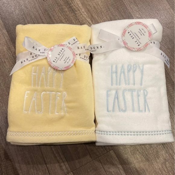 Yellow & White Happy Easter Hand Towels